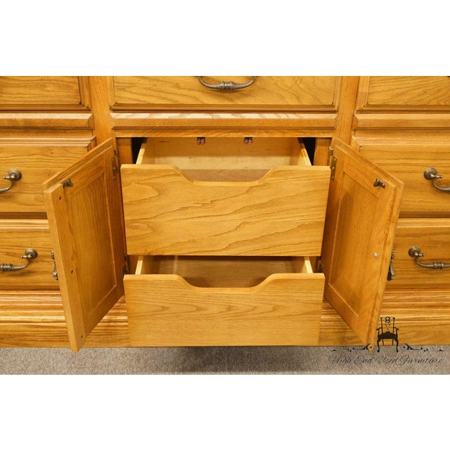 """Late 20th Century American Drew Country French Oak 72"""" Triple Door Dresser For Sale - Image 5 of 13"""