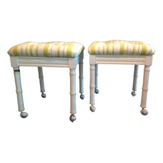 Vintage Faux Bamboo Stools - A Pair