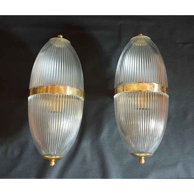 1960s Large Mid-Century Modern Clear Glass & Brass Italian Sconces or Lanterns - a Pair For Sale - Image 5 of 12