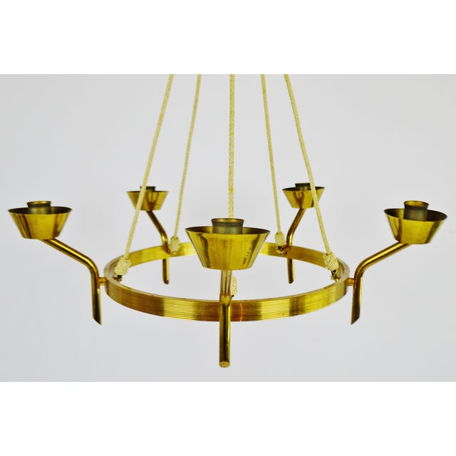 Antique Brass & Rope Chain 5 Light Chandelier - Image 2 of 10
