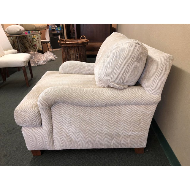 Contemporary Contemporary Custom Chenille Arm Chair For Sale - Image 3 of 10
