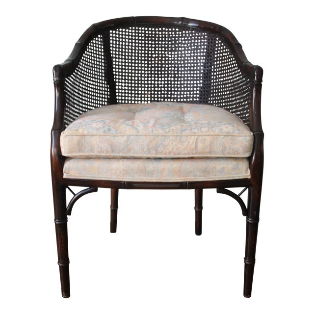 Faux Bamboo & Cane Barrel Back Chair For Sale