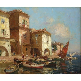 'Martigues' Impressionism Oil, M Ameglio For Sale
