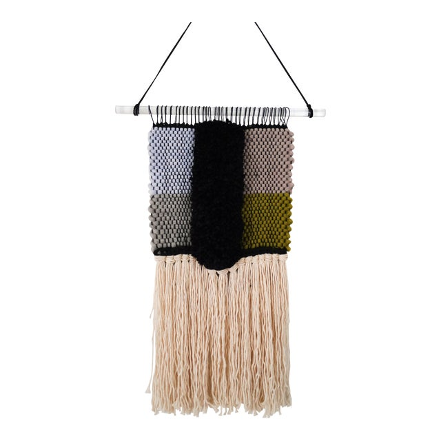 Handwoven Blue, Green, Tan, Grey, Black, and Cream Wall Hanging - Image 1 of 6