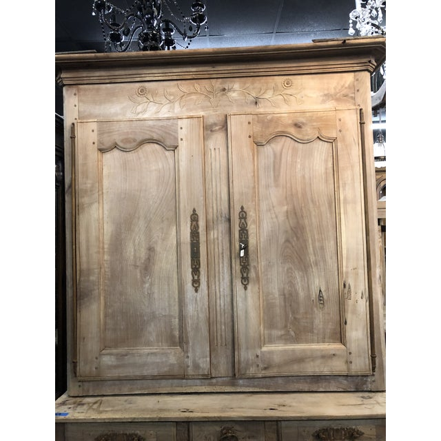 Boho Chic 19th C. French Cherry Wood Buffet Deux Corps Armoire For Sale - Image 3 of 13