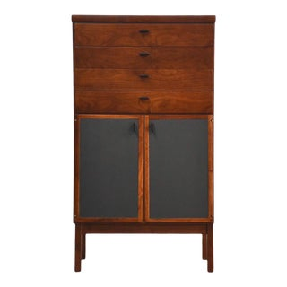 Walnut Mid Century Lingerie Dresser Chest Bar For Sale