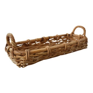 Long Woven Rattan Basket With Handles