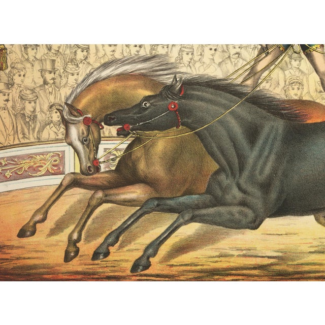 Carnival 19th-C. Two Horse Act Circus Print For Sale - Image 3 of 3