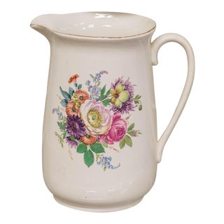 Vintage Large Porcelain Floral Pitcher