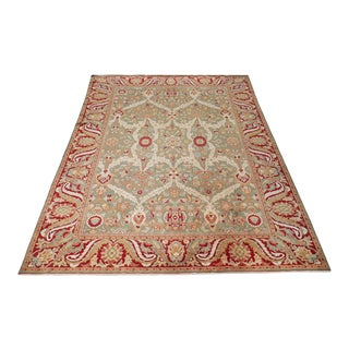 10' X 12' Geometric Floral Turkish Wool Rug For Sale