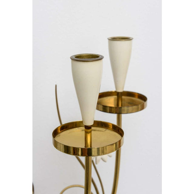 Large Scale 1950's Italian Brass Candle Sconce For Sale In Miami - Image 6 of 11