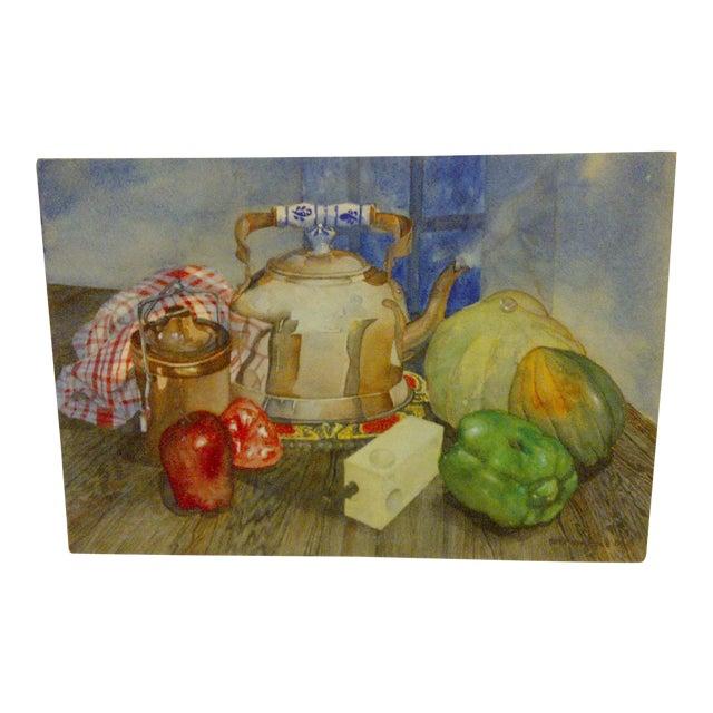 """Tea Kettle"" Antique Original Painting by Stephen Pole For Sale"