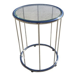 Saporiti Circular Glass Side Table For Sale