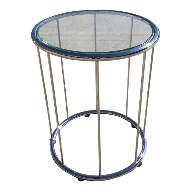 Saporiti Circular Glass Side Table For Sale