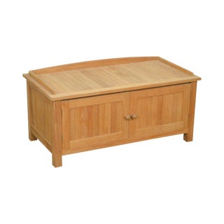 Smith & Hawken Solid Teak 2 Door Storage Cabinet Bench For Sale