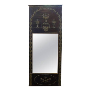 1920's French Empire Style Ebonized and Painted Mirror For Sale