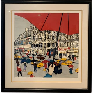 "Linnea Pergola ""Red Umbrella"" Limited Edition Serigraph on Paper Print For Sale"