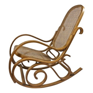 Mid Century Modern Thonet Style Bentwood Rocking Chair For Sale