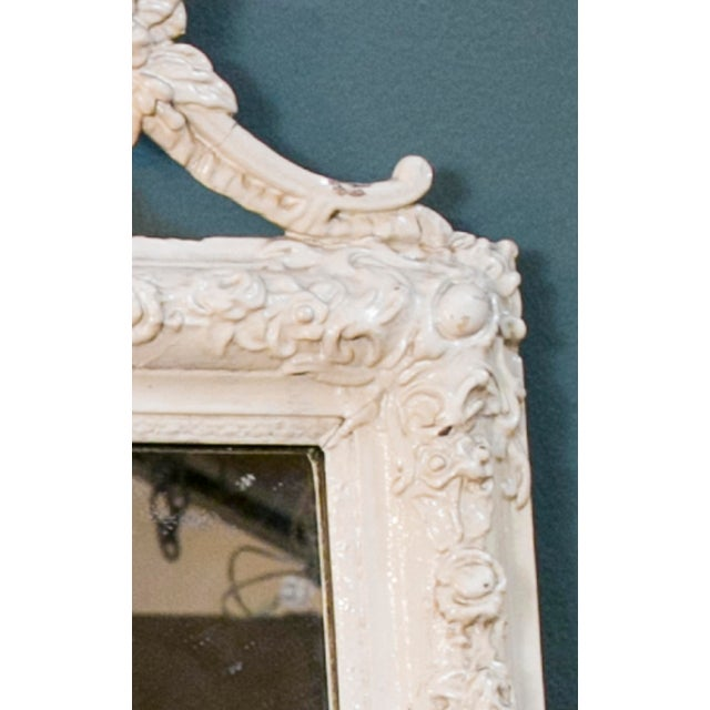 Glamorous Creamy-White Over-Painted Rococo Hand-Carved Wood Mirror, circa 1900 For Sale - Image 4 of 5