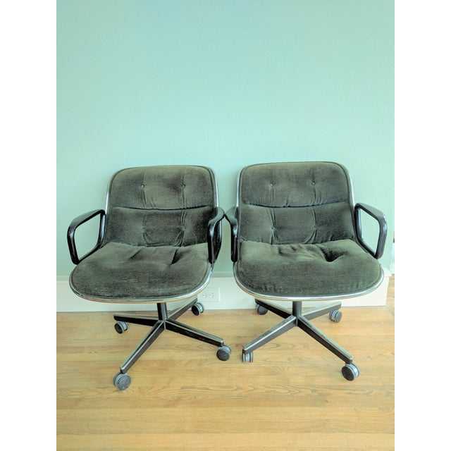 Vintage Knoll Pollock Green Mohair Velvet Executive Chairs - a Pair For Sale - Image 13 of 13