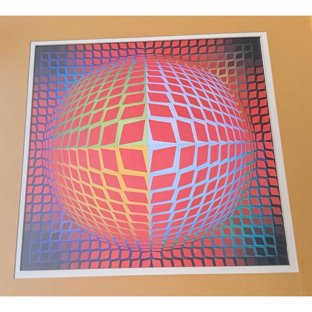 For your consideration, we are presenting for sale fresh from an estate sale a vintage op art lithograph framed wall...
