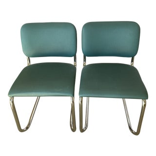 Teal Cantilevered Thonet Metal Chairs With Labels- a Pair For Sale