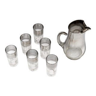 20th Century Traditional Glass/Chrome Pitcher With 6 Glasses - 7 Piece Set