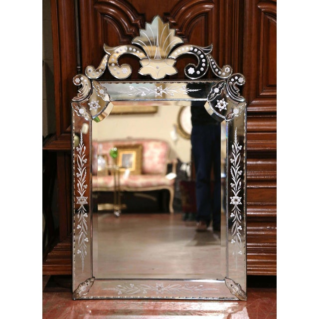 Early 20th Century Italian Overlay Venetian Mirror With Painted Floral Etching For Sale - Image 4 of 8