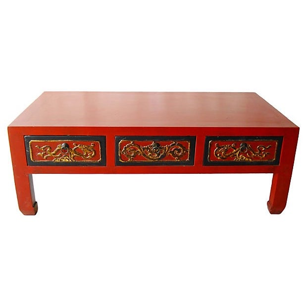 Red Lacquer Wood Coffee Table - Image 4 of 5