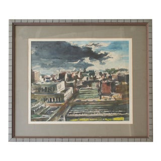Vintage Cityscape Watercolor Painting For Sale