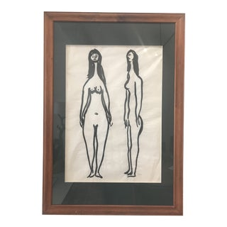 Vintage Mid-Century Robert Gilberg Original Nude Figures Painting For Sale