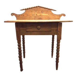 Antique Carved Dry Sink Desk Table