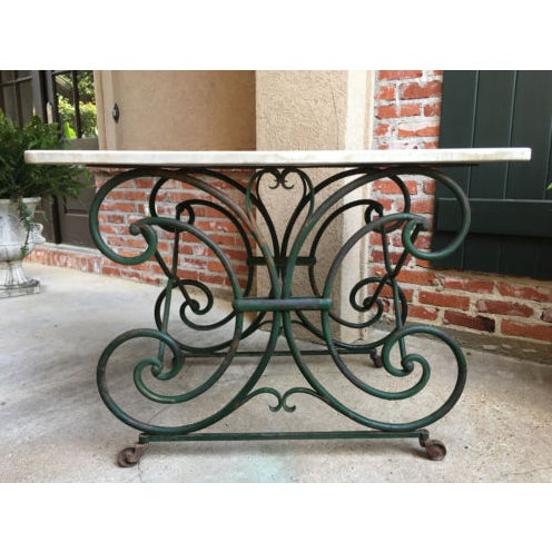 19th Century French Marble Pastry Baker's Table Art Nouveau Green Pâtisserie For Sale - Image 10 of 13