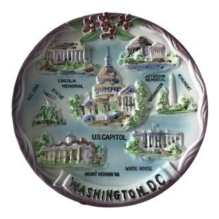 20th Century Americana Majolica Washington DC Souvenir Plate For Sale