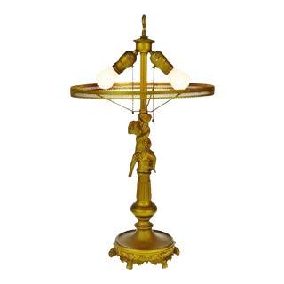 Vintage Hollywood Regency Cast Metal Figural Cherub Table Lamp For Sale