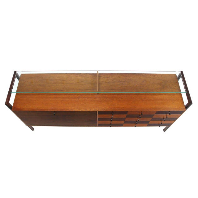 Multi Drawer Drop Front Bar Compartment Glass Shelf Top Long Dresser Checker For Sale - Image 4 of 9
