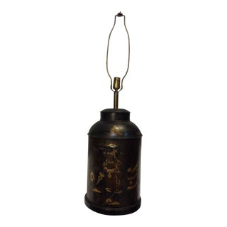 Chinoiserie Decorated Tea Canister Lamp For Sale
