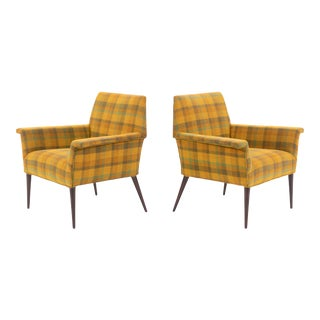 """Vintage Mid-Century Plaid """"Planner Group"""" Lounge Chairs by Paul McCobb - a Pair For Sale"""