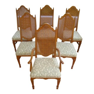 Set 6 Cane Back French Dining Table Chairs Drexel or Henredon For Sale