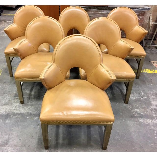 Custom Ordered Leather Nailhead Armchairs - Set of 6 - Image 2 of 11