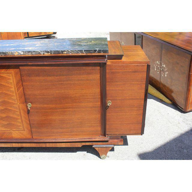 1940s Art Deco Exotic Macassar Ebony Marble Top Sideboard For Sale - Image 10 of 12