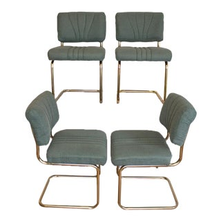 Upholstered Teal Cantilever Chairs / Sleigh Chairs, Set of Four