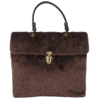 Large C.1950 Brown Faux Fur Handbag For Sale