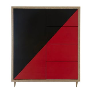 Naula Black & Red Lacquer Duplex Dresser For Sale