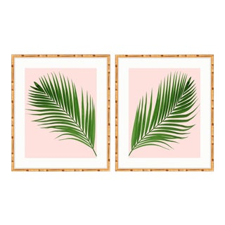 Gold Bamboo Framed Palm Print Diptych For Sale