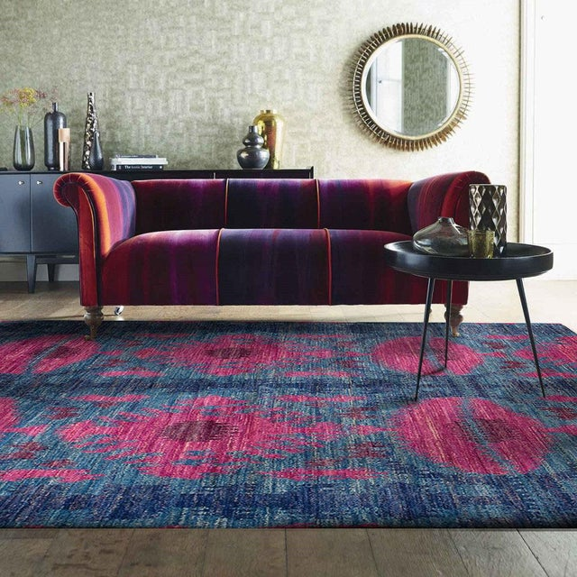 1960s 1960's Abstract Bohemian Pink and Blue Handmade Wool Rug For Sale - Image 5 of 6