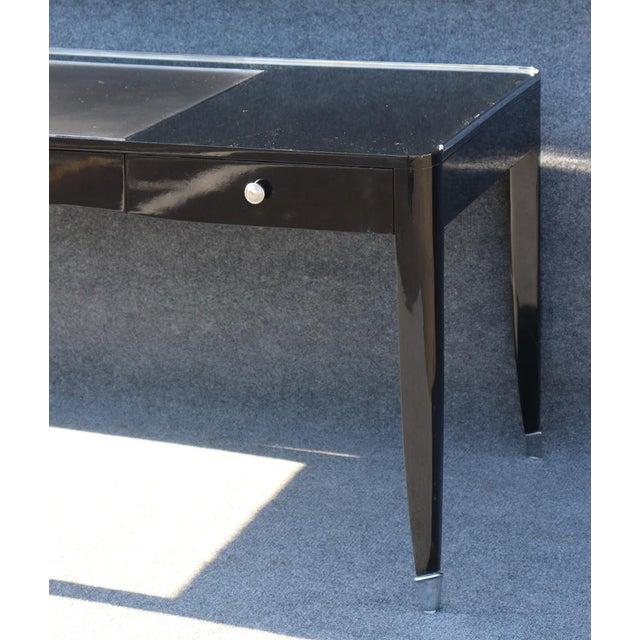 Contemporary Black Ralph Lauren One Fifth Paris Bureau Plat Writing Table Desk For Sale - Image 3 of 11