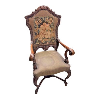 Antique 1860s French Walnut Renaissance Carved Armchair