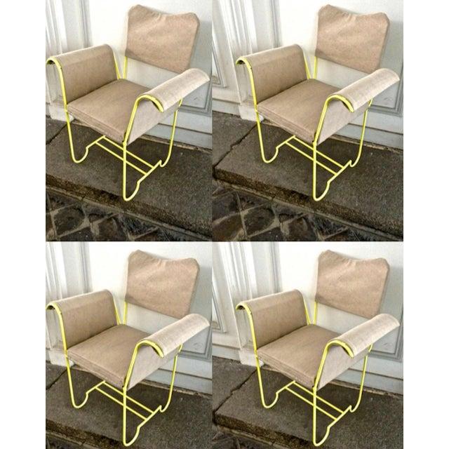 "Canvas Mathieu Mategot Rare Set of 4 Arm Chairs Model ""Tropiques"" For Sale - Image 7 of 7"