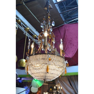French Victorian Gilt Bronze Chandelier With 3 Arms Emanating From a Crystal Beaded Bowl Preview